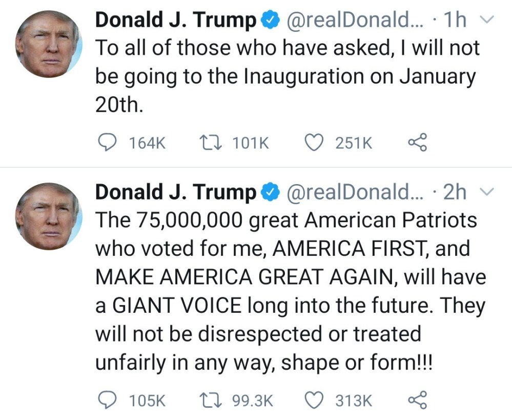 I will not be going to the Inauguration on January 20th - Donald Trump tweets