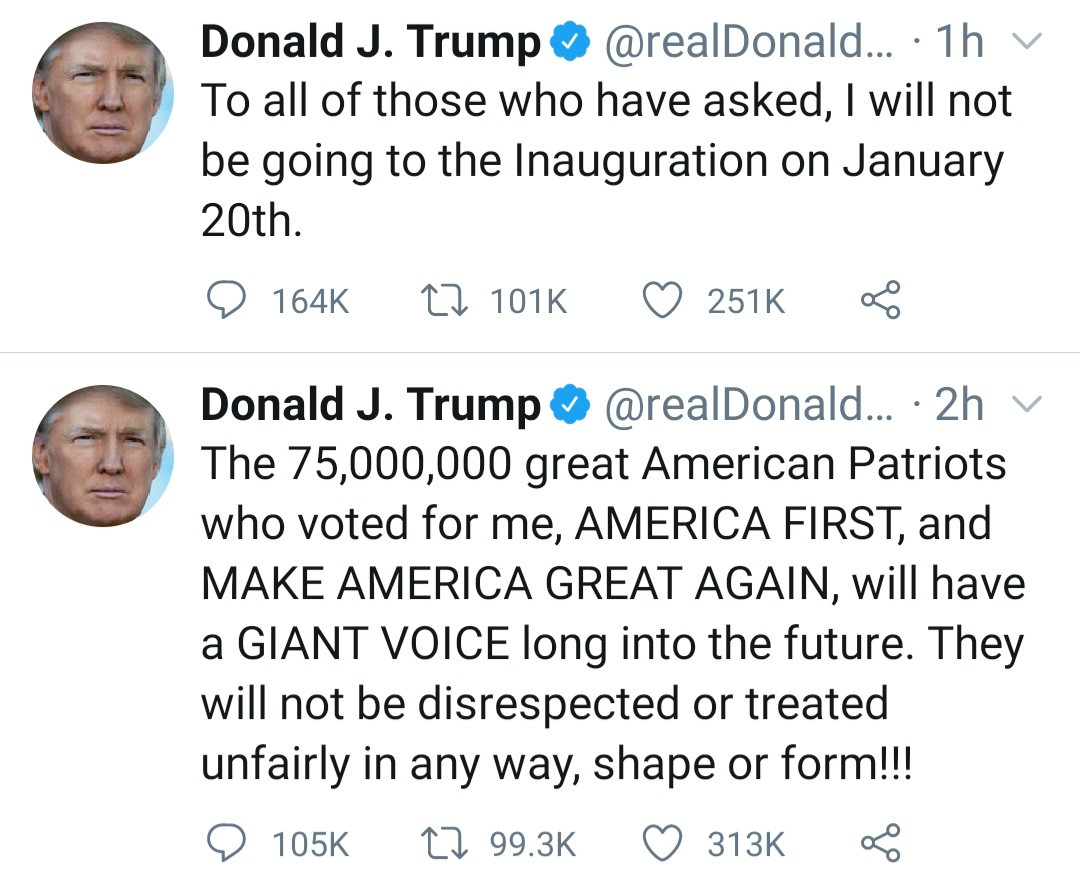 I will not be going to the Inauguration on January 20th - Donald Trump