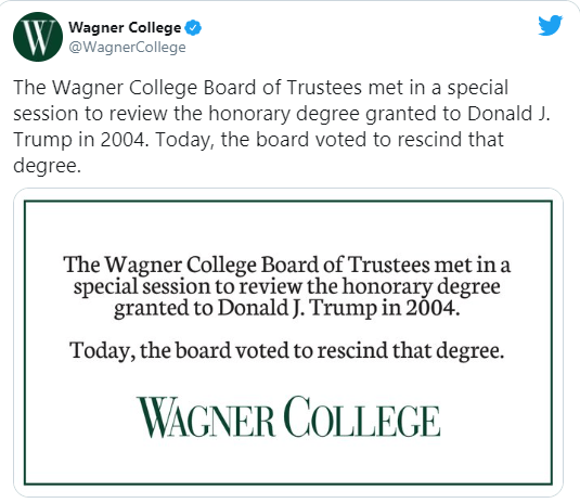 Wagner College also revokes honorary degree awarded to President Trump