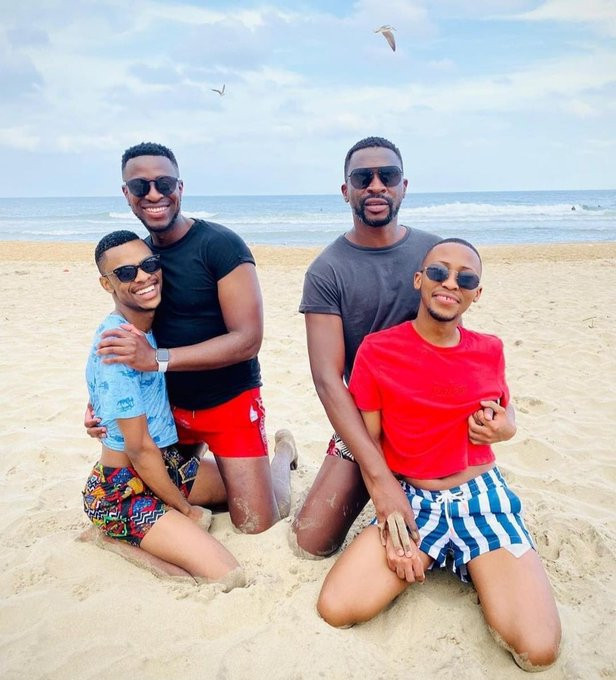 Two South African men flaunt their 'Gay lovers' as they enjoy double date at the beach (Photo)