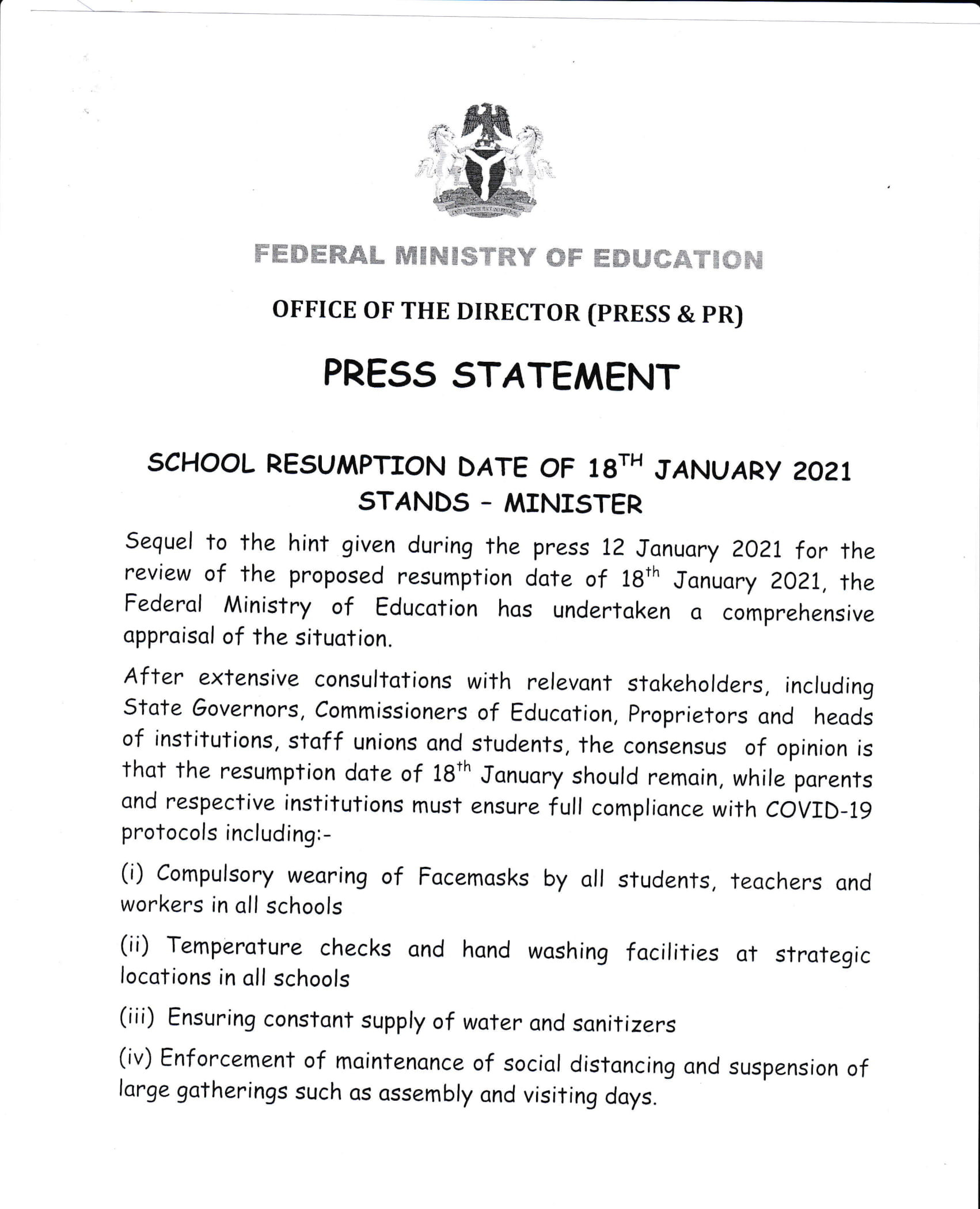 January 18 resumption date for schools stands- FG