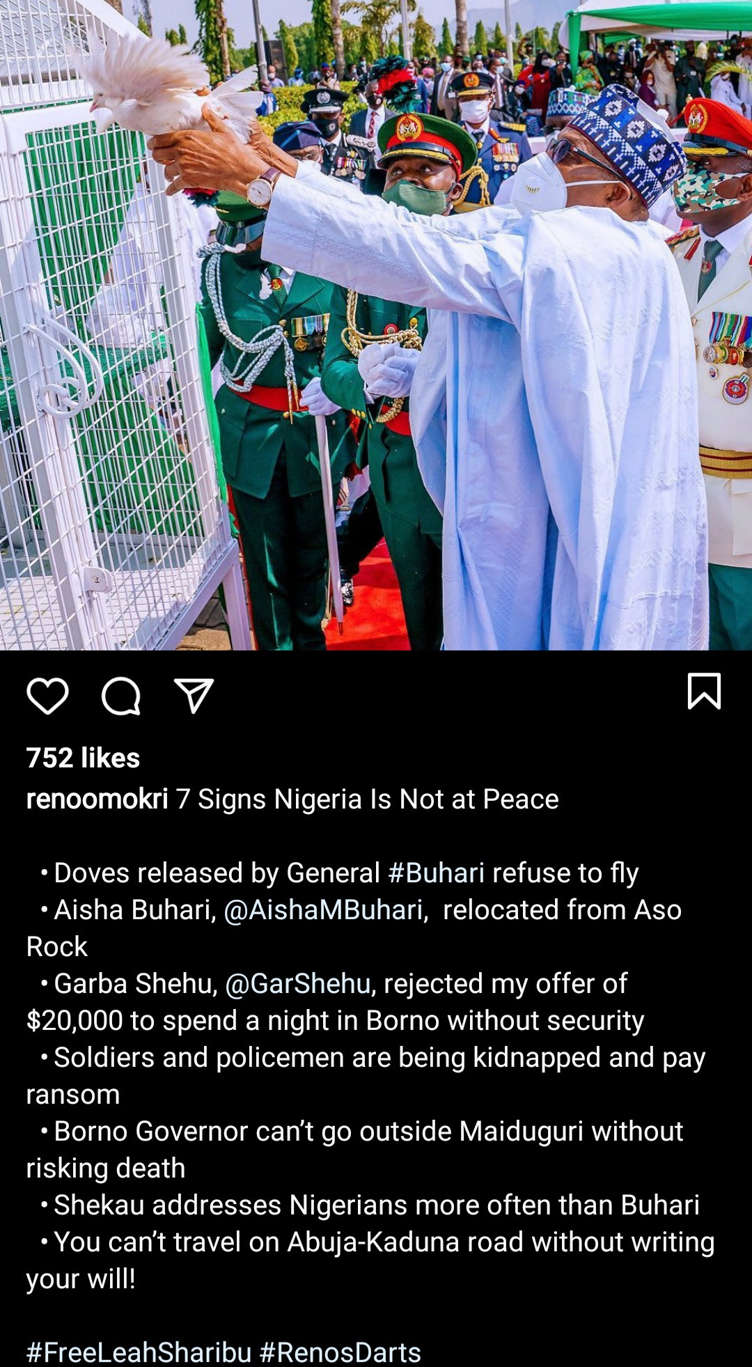 """""""You killed End SARS protesters and expect doves of peace to fly?"""" Reno Omokri reacts as pigeons refused to fly off at the 2021 Armed Forces Remembrance Day"""