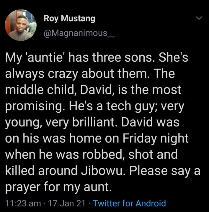 """""""Nigerian police stood and watched as he gasped for air"""" Heartbroken Nigerians claim as they mourn young techpreneur David Ntekim-Rex gunned down by robbers"""