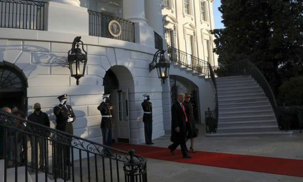 Donald Trump departs White House for the last time as US president (video)
