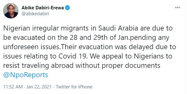 Nigerian irregular migrants in Saudi Arabia to be evacuated on January 28 and 29 - Abike Dabiri-Erewa
