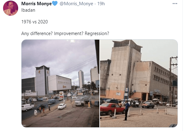 See photos of a street in Ibadan in 1976 and 2020