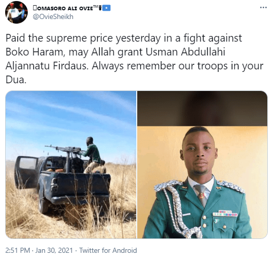 Nigerian soldier allegedly dies during fight with Boko Haram