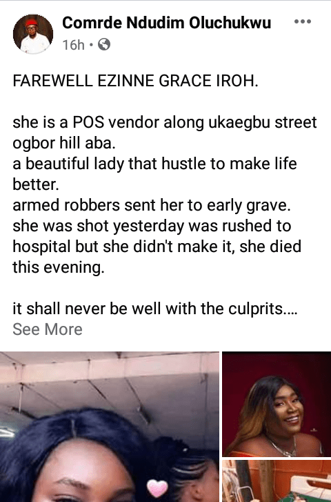 Armed robbers kill female PoS operator in Aba