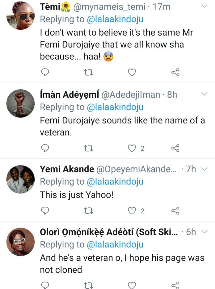 Lala Akindoju, others slam actor Femi Durojaiye for asking up-and-coming actors to pay for movie roles