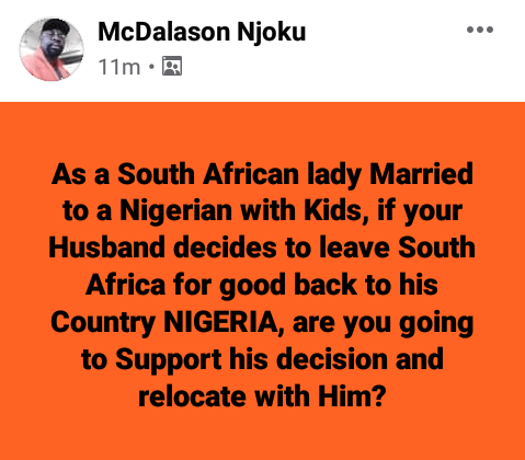 Only illiterate, desperate South African women marry Nigerian and African men. Working class ones rather go for whites - South African woman says