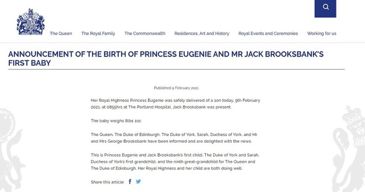 Princess Eugenie and Jack Brooksbank welcome baby boy, Princess Eugenie and Jack Brooksbank welcome baby boy, Premium News24