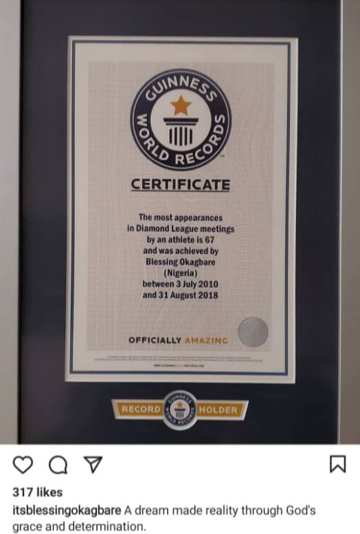 Blessing Okagbare receives Guiness World Record certificate after she overtook Usain Bolt as the athlete with the most Diamond League appearances