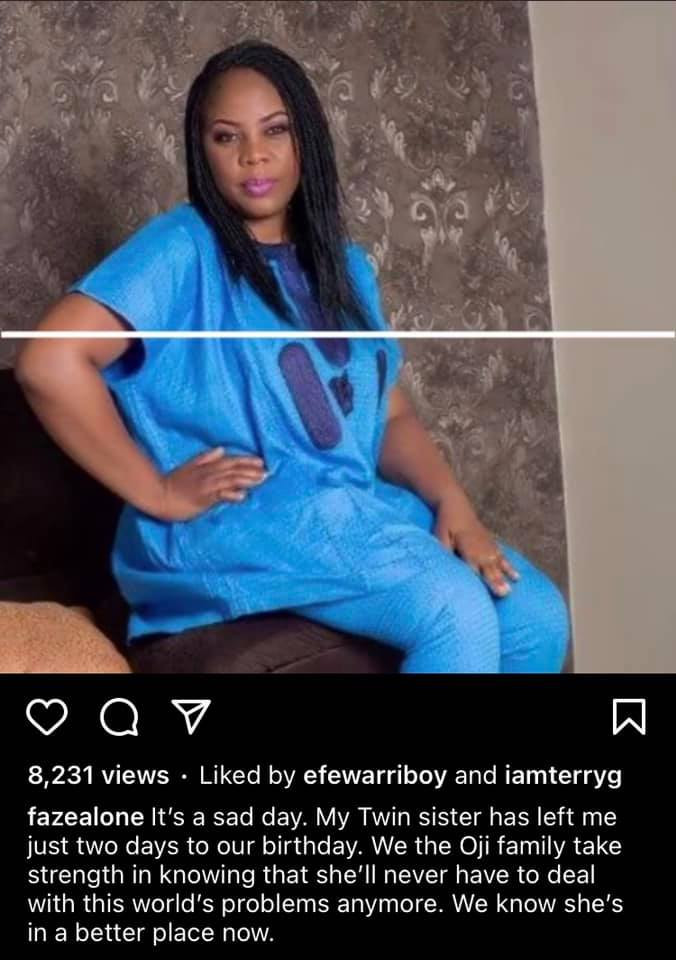 Singer Faze loses twin sister two days to their birthday