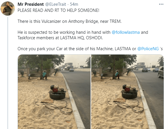Man accuses vulcaniser of working alongside LASTMA officials to set trap for drivers who park on the road to use his service