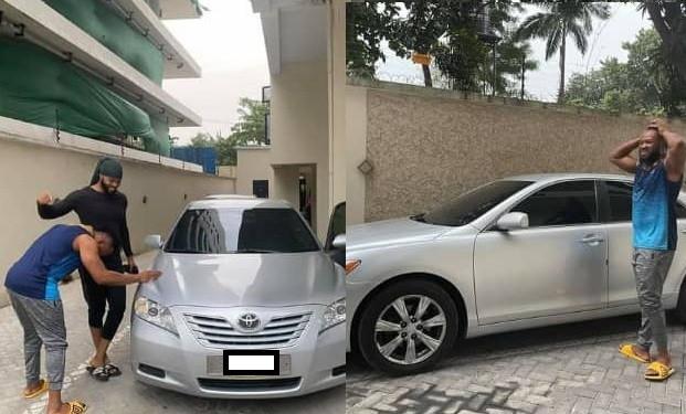 Singer, Flavour surprises his childhood friend with a car (photos)