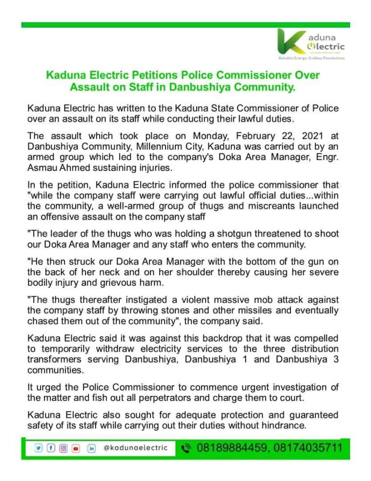 Kaduna Electric withdraws services from three communities over assault on staff