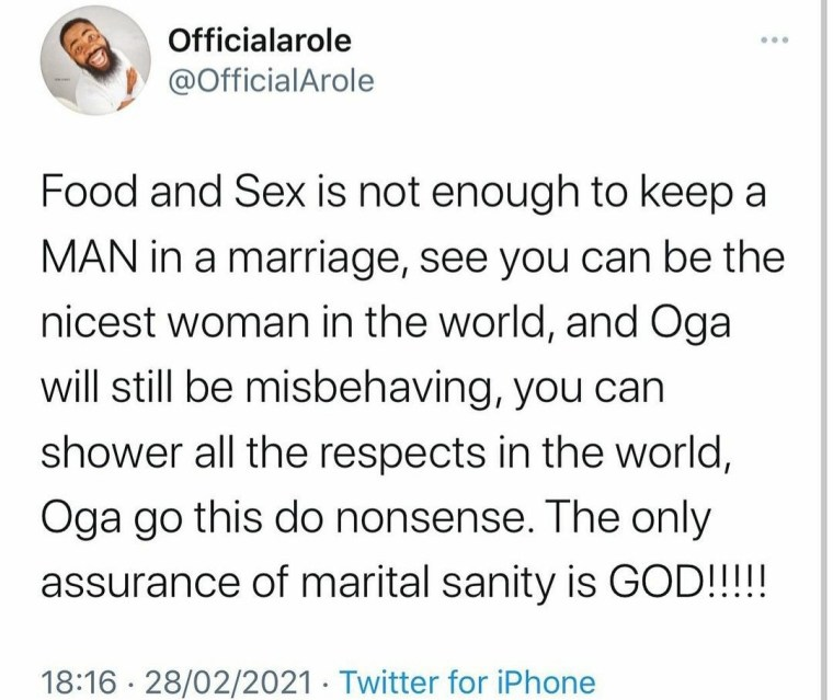 """You can be the nicest woman in the world and your man will still misbehave"" Comedian Woli Arole writes as he reveals the only factor that can keep a marriage"