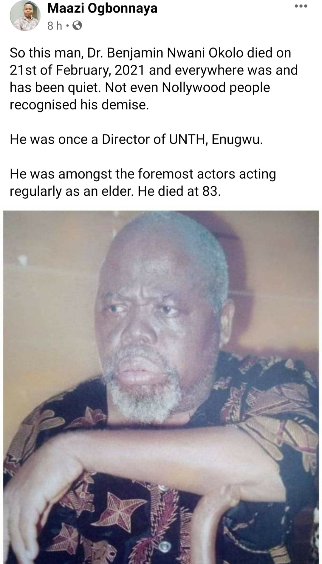 """""""Is this not hypocrisy"""" Nigerian celebrities called out for their silence following the death of Nollywood veteran, Benjamin Nwani Okolo"""