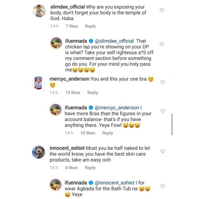 Ifuennada claps back at Nigerians attacking her for exposing her body in new photos
