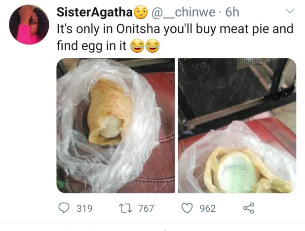 Woman buys meat pie in Onitsha only to find egg in it