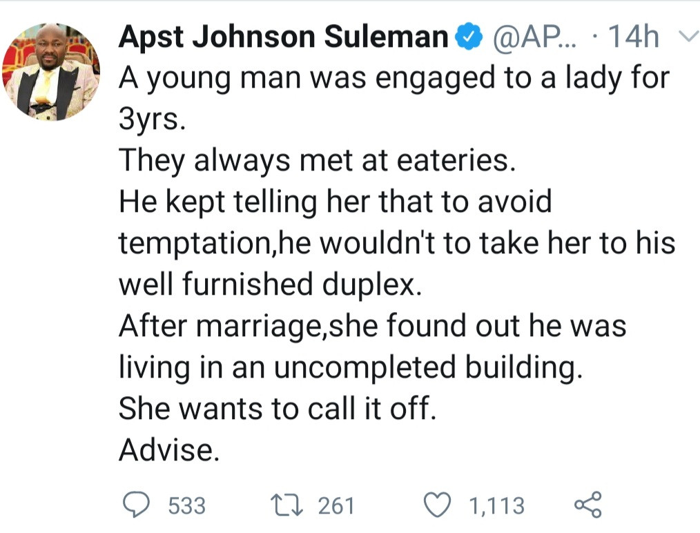 "Newly married woman finds out her husband who refused to take her to his ""duplex to avoid temptation"" lives in an uncompleted building"
