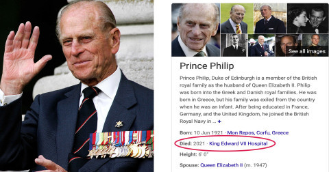 Search engine Bing mistakenly lists Prince Philip as dead (photo)