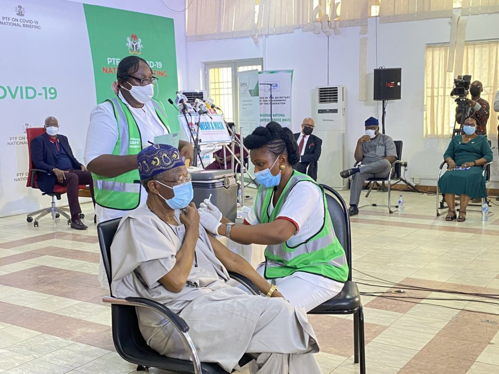 Lai Mohammed, other PTF members take the COVID19 vaccine on Live TV