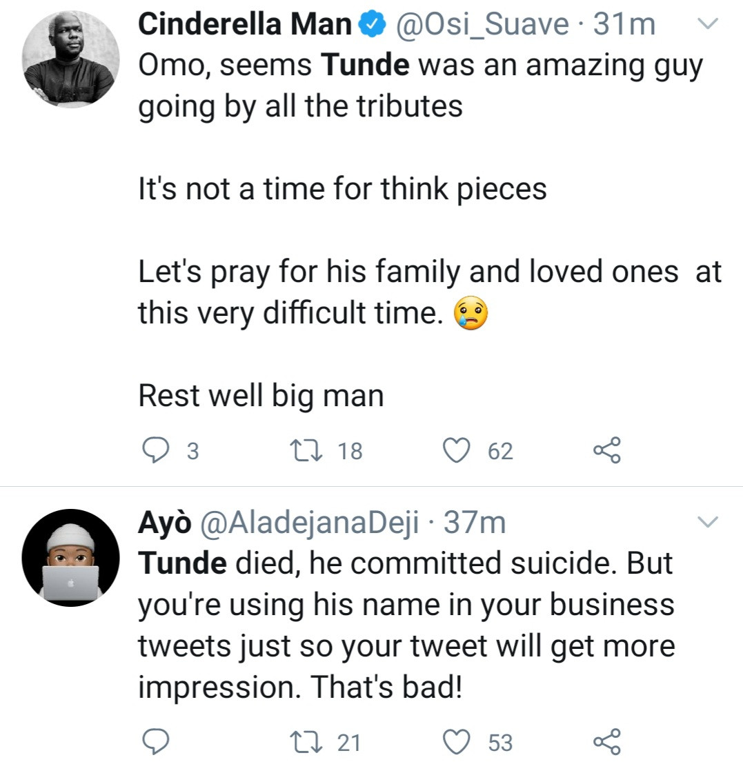 Nigerians mourn as Twitter influencer named Tunde allegedly commits suicide one day after tweeting