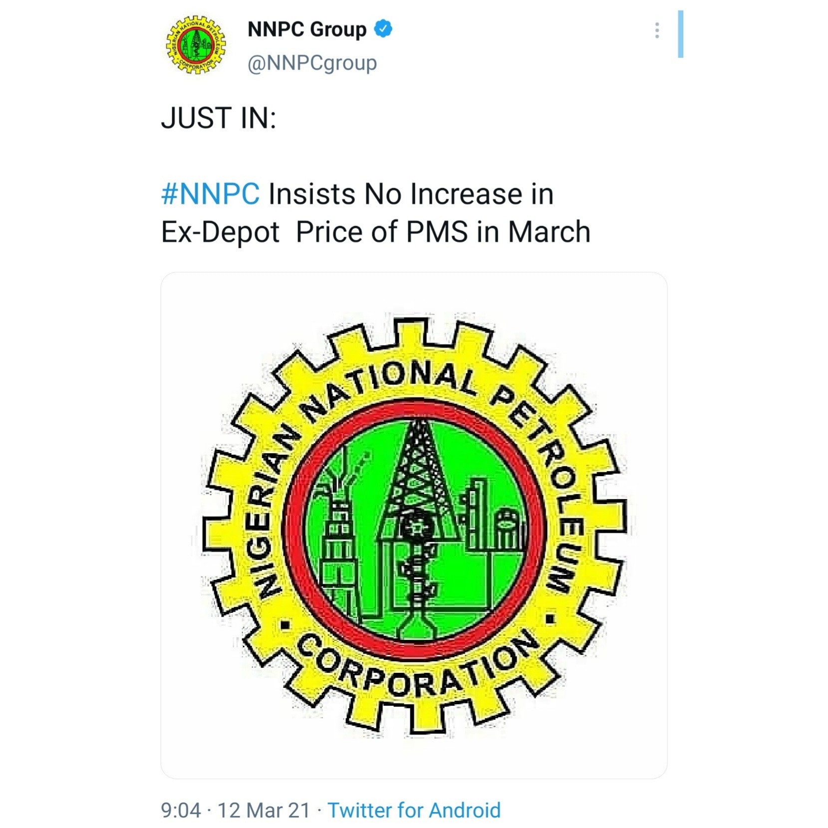 NNPC insists no increase in ex-depot price of PMS in March