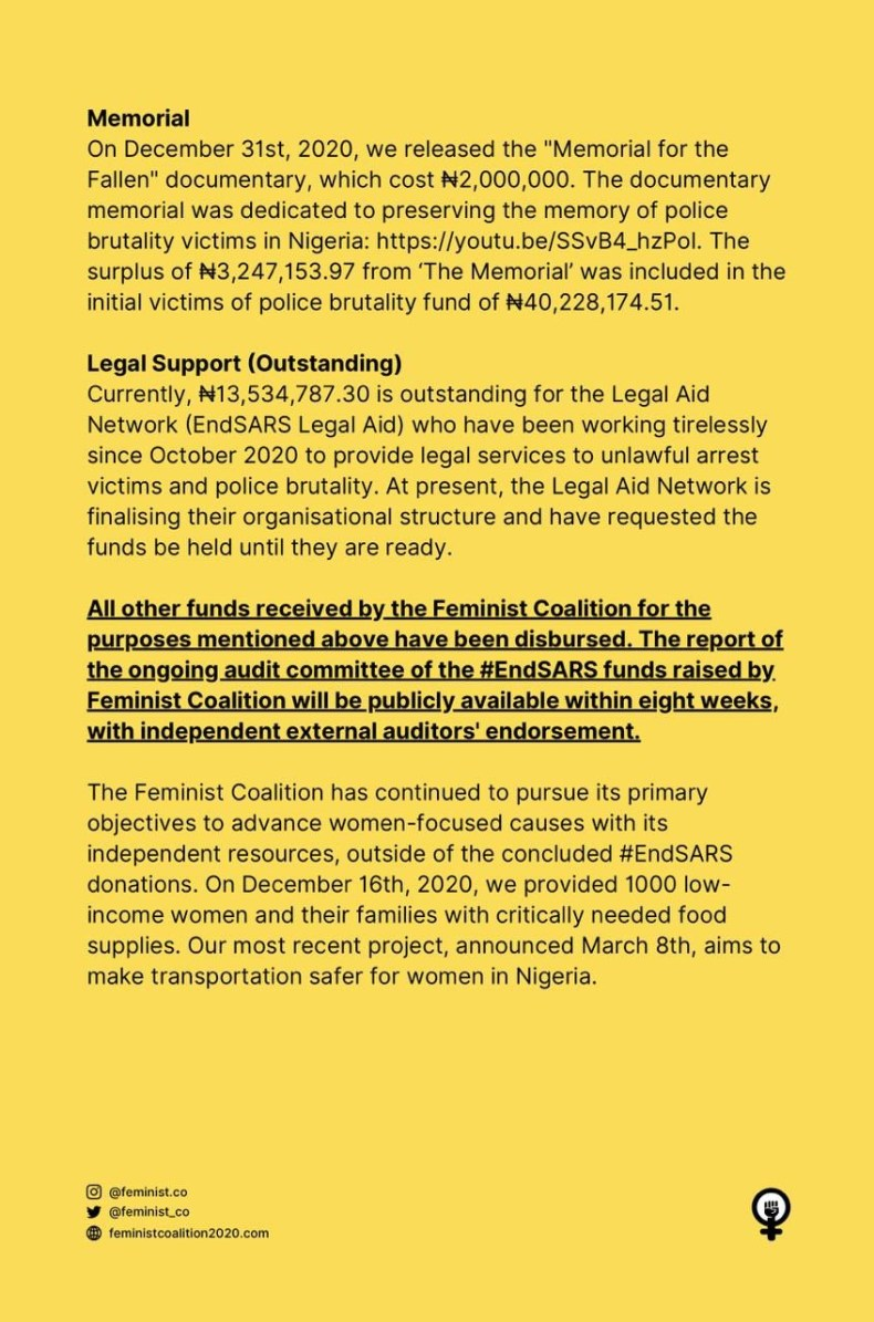 Feminist Coalition reacts to allegation of withdrawing N23m worth of bitcoin donated for #EndSARS protest and transferring it to another account
