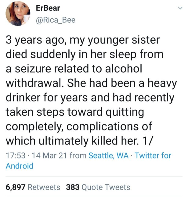 Woman narrates how her sister died because she quit alcohol suddenly