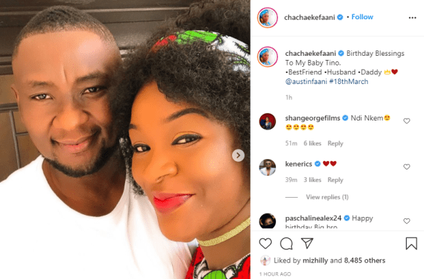 Chacha Eke celebrates her husband, Austin Faani on his birthday