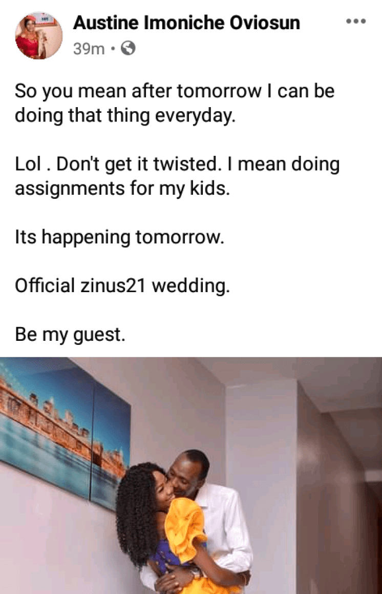 """""""After tomorrow I can be doing that thing everyday"""" - Excited Nigerian groom-to-be says as he sets to wed"""