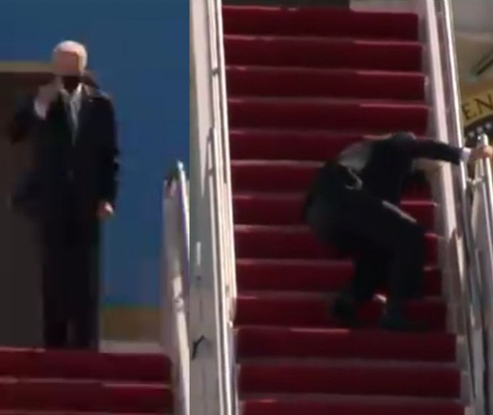 Joe Biden trips and falls thrice while climbing Air Firce One stairs and Donald Trump Jr. mocks him mercilessly (video)
