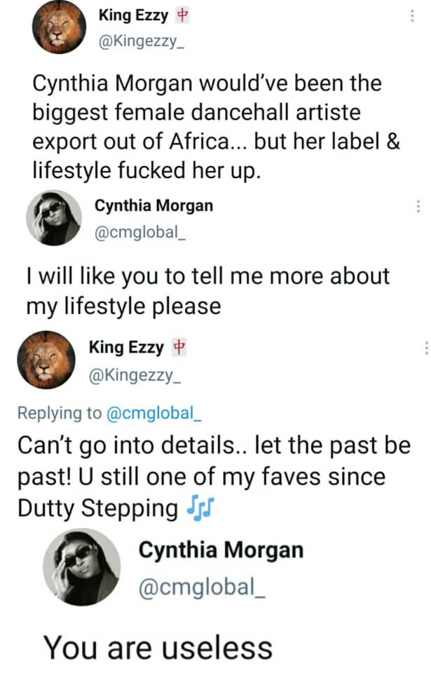 """You are useless""  -Cynthia Morgan blasts follower who claims her lifestyle stunted her growth in the music industry"