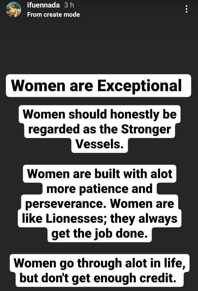 """""""Women should be regarded as the stronger vessels"""" Ifu Ennada writes as she lists ways women are more exceptional"""