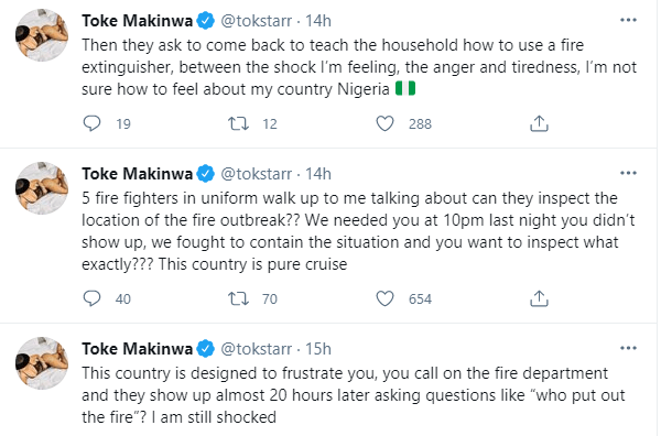 Toke Makinwa calls out fire department after it took them 20 hours to respond to her call of putting out a fire at her house