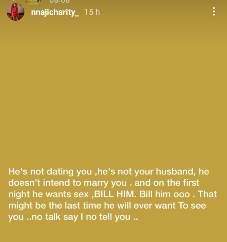 Actress, Charity Nnaji tells women what to do to dismiss men who are neither their boyfriends nor husbands yet want sexual privileges