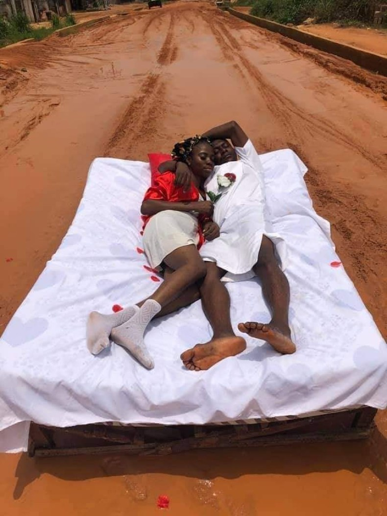 Couple stage their honeymoon on the bad Ohi-Orogwe road in Imo