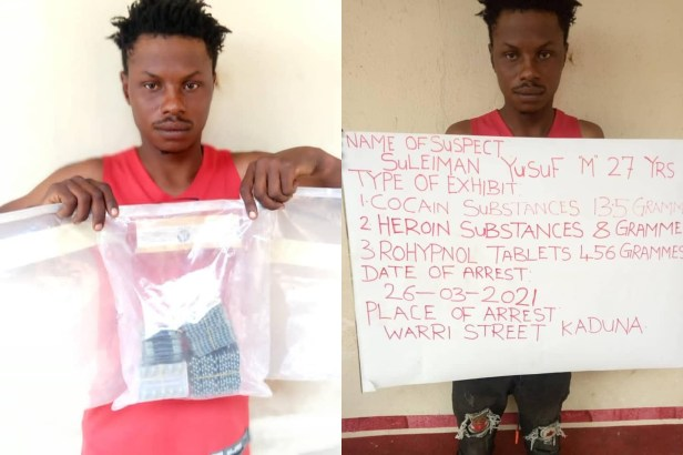 NDLEA nabs Chadian Boko Haram drug supplier in Taraba, recovers 477 grammes of cocaine and heroin in Kaduna (photos)