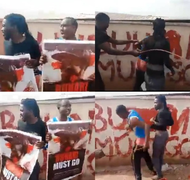 Kogi residents flog two men for staging #BuhariMustGo protest in the state (video)