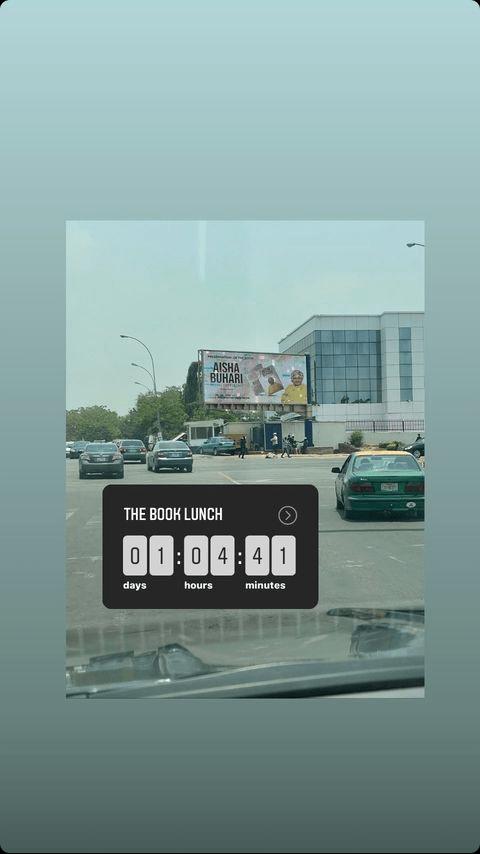 Huge billboard of Aisha Buhari spotted in Abuja ahead of her book launch with 12 Nigerian billionaires
