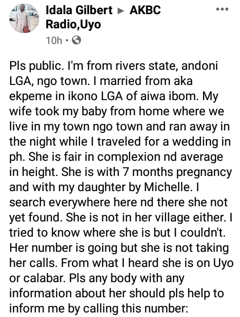 Nigerian man seeks help to locate his pregnant wife who he claims ran away with their child