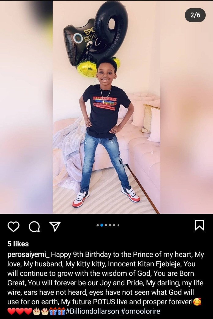 Tuface Idibia and Pero Adeniyi celebrate their son as he turns 9