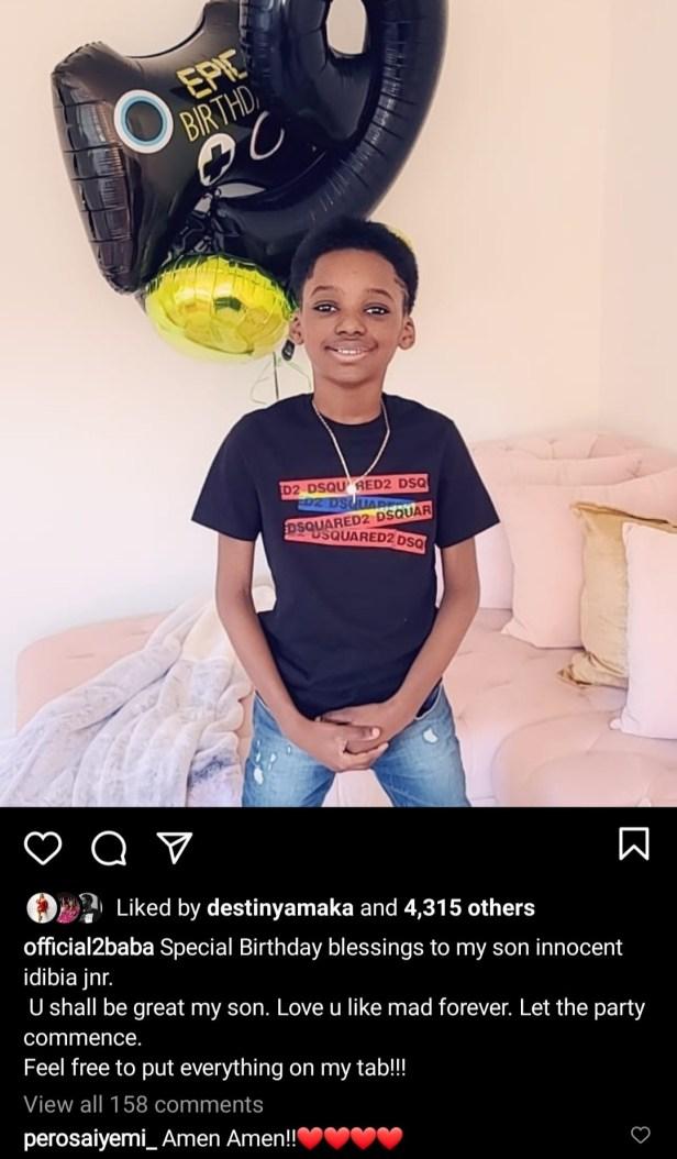Tuface Idibia and Pero Adeniyi celebrate their son as he turns 9