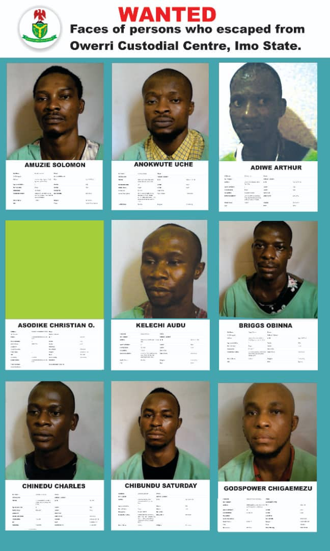 Nigerian Correctional Service releases more photos of fleeing inmates from Owerri custodial center