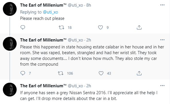58-year-old woman raped and murdered in a housing estate in Calabar; son cries out on Twitter (photos)