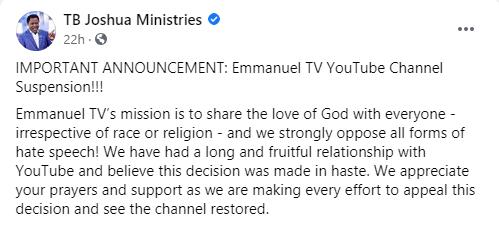 TB Joshua Youtube suspendu