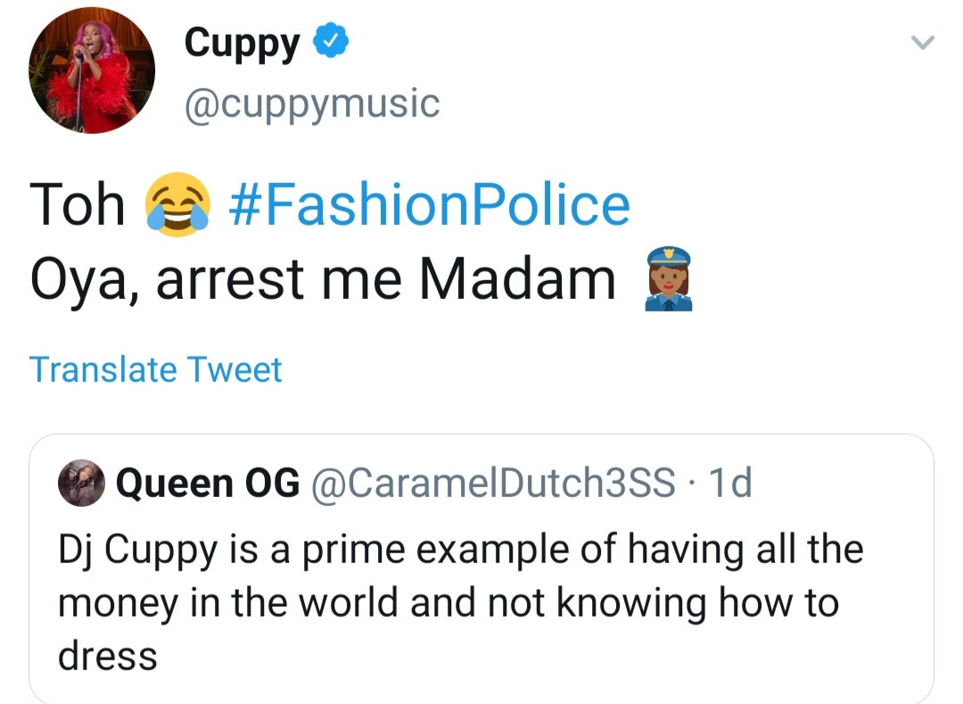 DJ Cuppy reacts after a follower said she has
