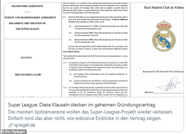 See leaked European Super League contract revealing clubs that pull out face a ?130m